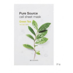 MISSHA PURE SOURCE CELL SHEET MASK GREEN TEA, 21grs