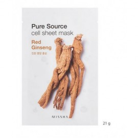 MISSHA PURE SOURCE CELL SHEET MASK RED GINSENG, 21grs