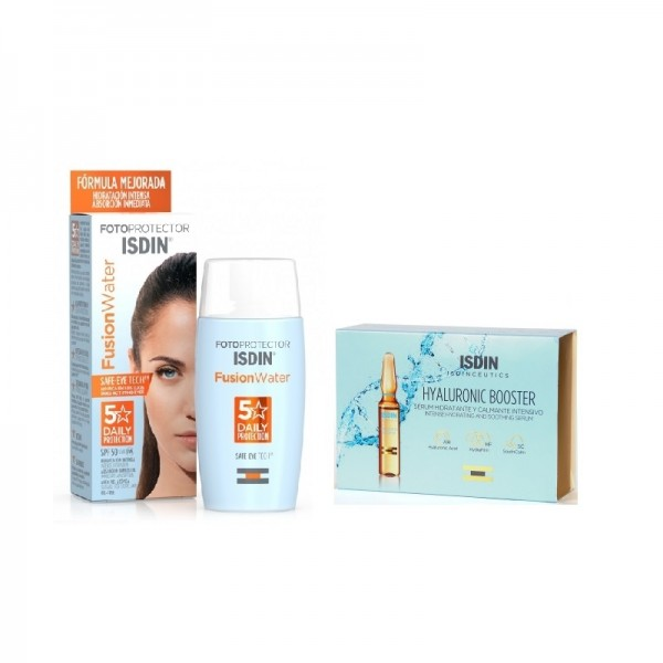 Pack Fusion Water Spf50, 50ml + Sérum Hidratante Hyaluronic Booster, 5 Ampollas