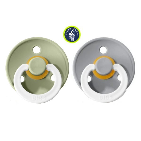 Pack 2 Chupetes BIBS Night Collection Sage/Cloud 6-18M