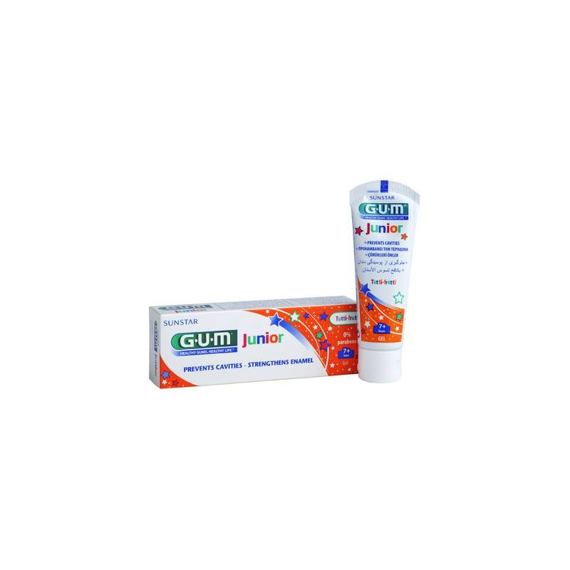 GUM JUNIOR GEL DENTÍFRICO +7 AÑOS SABOR TUTI FRUTI, 50ML